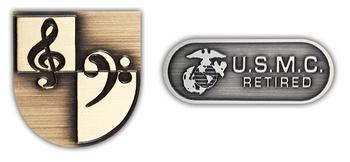 Custom 2D Etched USA Made Lapel Pins in Antique Finish