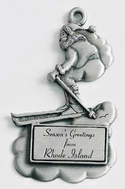 Skiing Santa Marken Design Cast Ornament